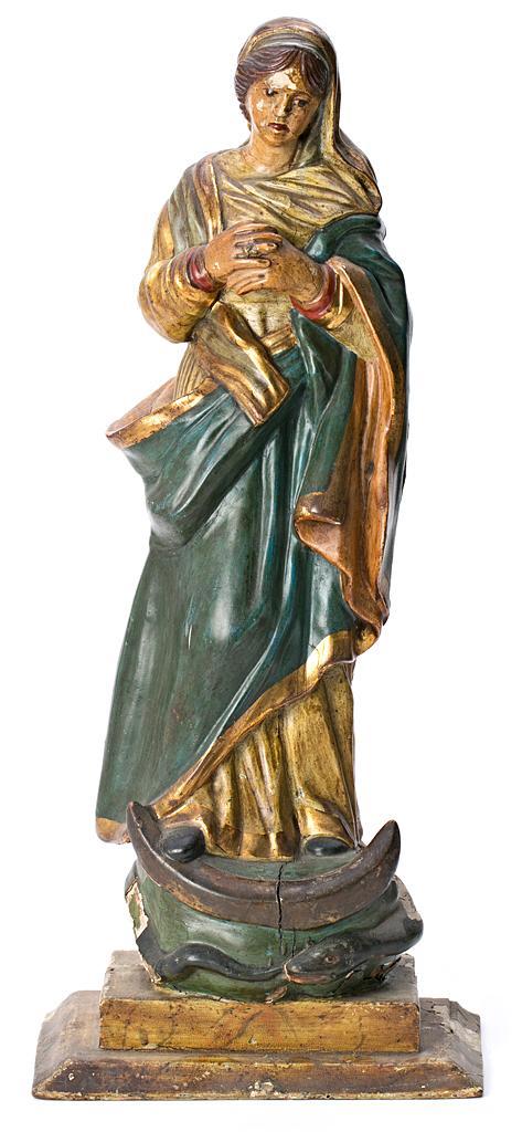 Escuela española del siglo XIX Inmaculada Escultura en madera tallada, dorada y policromada