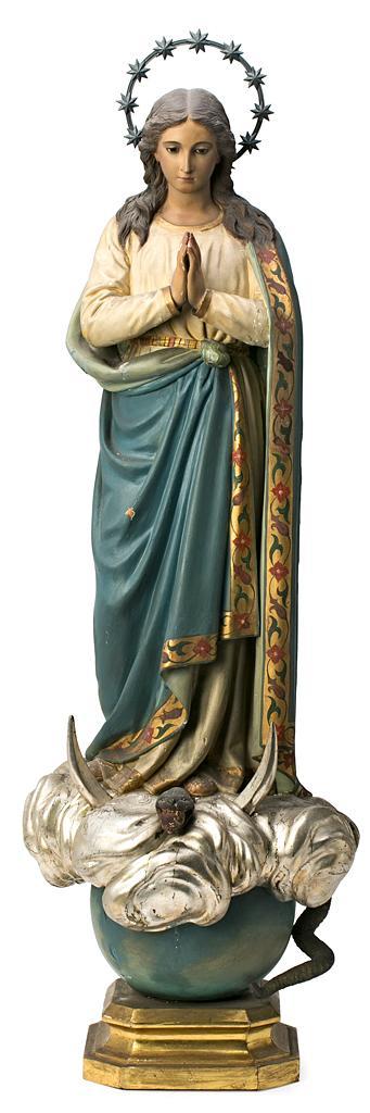 Escuela española de principios del siglo XX Inmaculada Escultura en madera policromada, dorada y plateada