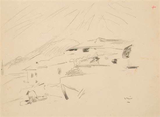 Joaquim Mir Trinxet Barcelona 1873 - 1940 Vista rural Dibujo al carboncillo sobre papel