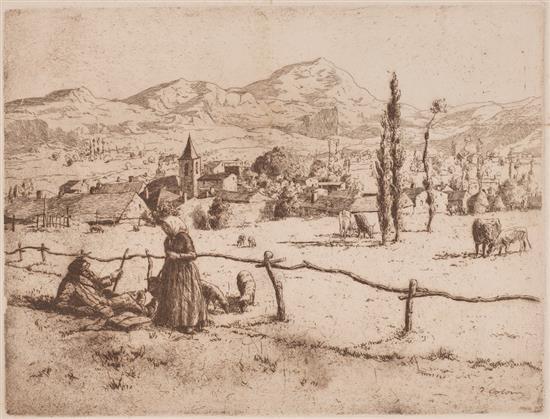 Joan Colom, Laureà Barrau, Enric Galwey, Manuel Urgellés, Luis García Falgas y otros Escenas varias Ocho grabados