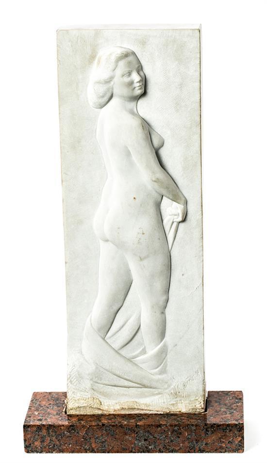Josep Cañas i Cañas Banyeres del Penedès 1905 - El Vendrell 2001 Desnudo femenino Relieve en mármol blanco