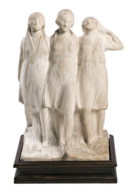 Frederic Marès Deulovol Port Bou 1893 - Barcelona 1991 Tres jóvenes Escultura en yeso con base en madera