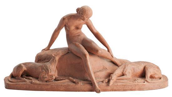Ary Bitter Marsella 1883 - París 1973 Diana cazadora Escultura en terracota