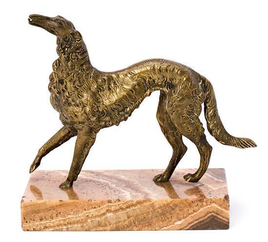 Escuela francesa del segundo cuarto del siglo XX Galgo afgano Escultura en bronce