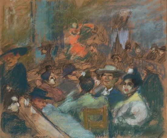 Ricard Canals Barcelona 1876 - 1931 Café concierto Pastel sobre papel