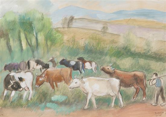 Joaquim Sunyer Sitges 1875 - 1956 Paisaje Pastel, gouache y carboncillo sobre papel