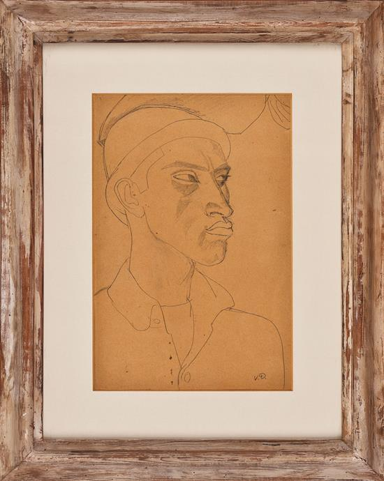 Daniel Vázquez Díaz Nerva 1882 - Madrid 1969 Un joven Dibujo a lápiz sobre papel