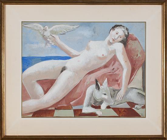 Pere Pruna Barcelona 1904 - 1977 Una joven con animales Gouache sobre papel