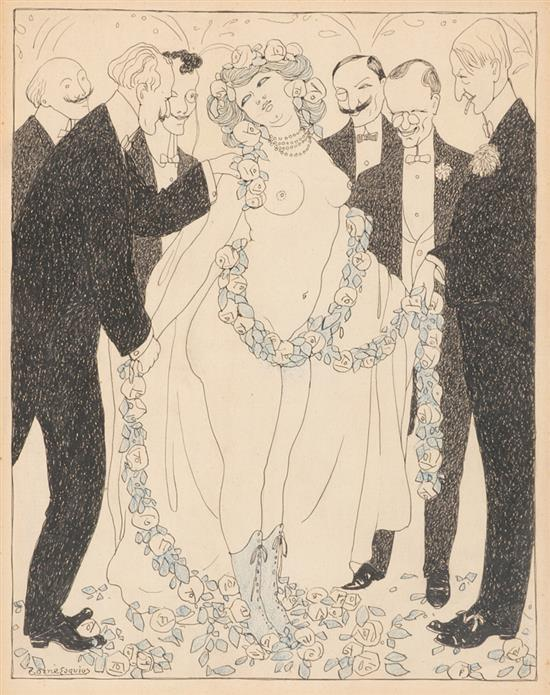 Pere Torné Esquius Barcelona 1879 - Flavancourt 1936 Una joven con pretendientes Dibujo a tinta y pastel sobre papel