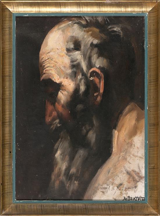 Atribuido a Manuel Benedito Valencia 1875 - Madrid 1963 San Pablo ermitaño Óleo sobre lienzo