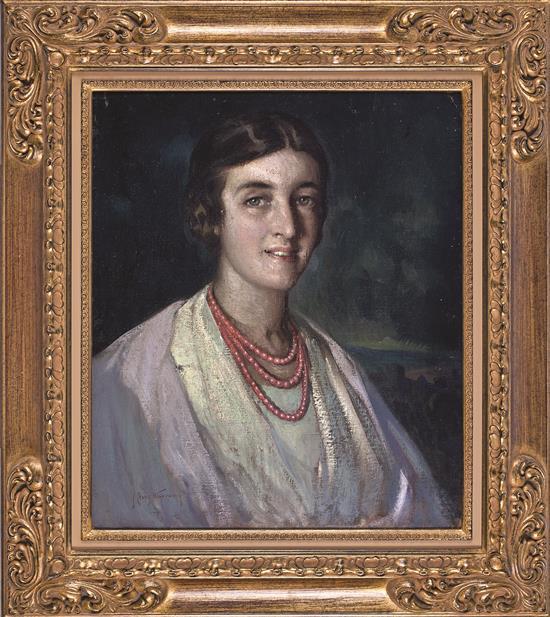José Cruz Herrera La Línea de la Concepción 1890 - Casablanca 1972 Una joven Óleo sobre lienzo