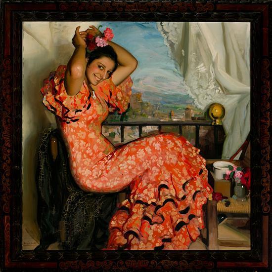 Francisco Soria Aedo Granada 1898 - Madrid 1965 Una joven Óleo sobre lienzo