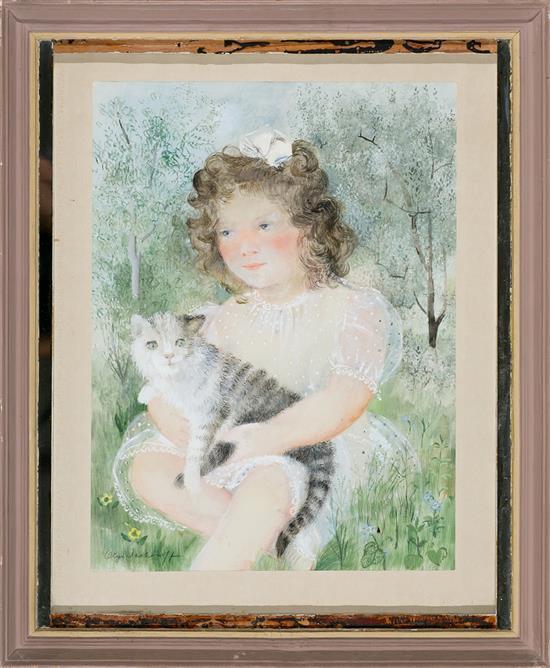 Olga N. Sacharoff Tbilisi 1889 - Barcelona 1967 Niña con un gato Gouache sobre papel