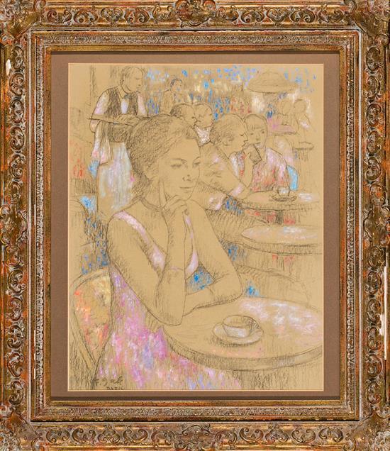 Francesc d'Assís Galí Barcelona 1880 - 1965 Una joven en una terraza Pastel sobre papel