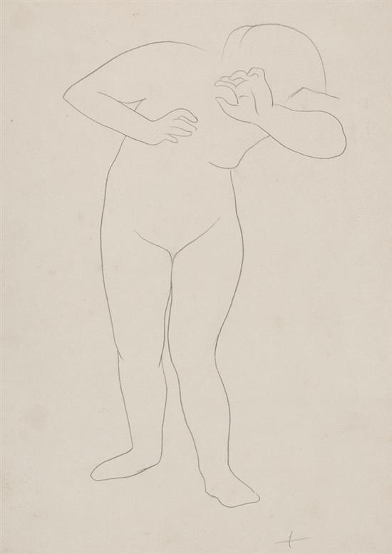 Josep de Togores Cerdanyola del Vallés 1893 - Barcelona 1970 Joven desnuda Dibujo a lápiz sobre papel
