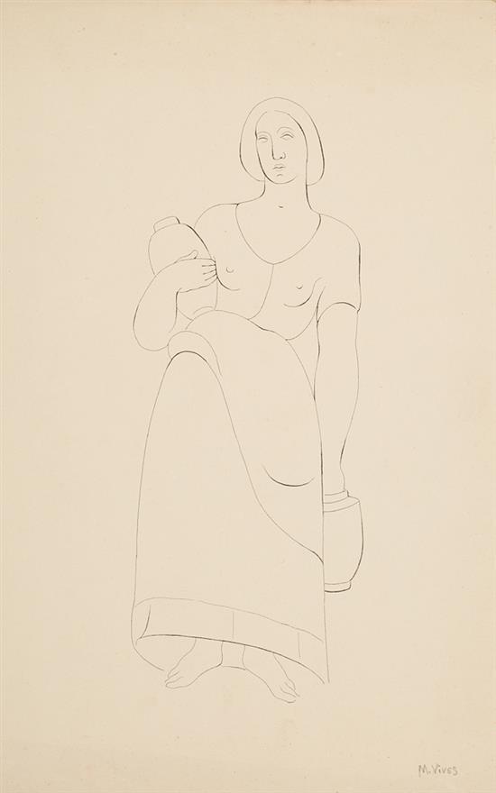Màrius Vives Domènech Barcelona 1893 - 1975 Aguadora Dibujo a tinta sobre papel