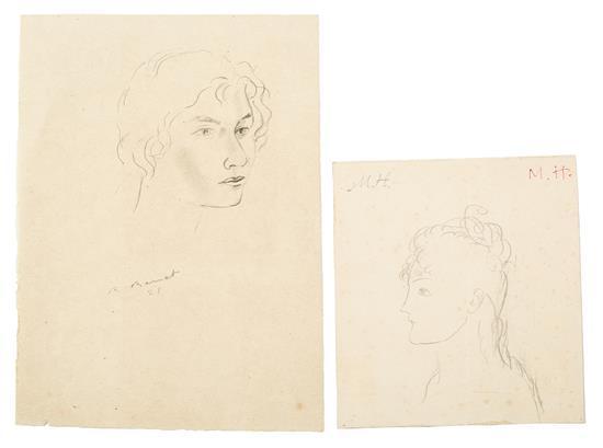 Manuel Humbert y Rafael Benet Barcelona 1890 - 1975 y Terrassa 1889 - Barcelona 1979 Jóvenes Dos dibujos a lápiz sobre papel