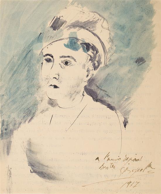 Alfred Sisquella Barcelona 1900 - Sitges 1964 Un joven Acuarela y tinta sobre papel