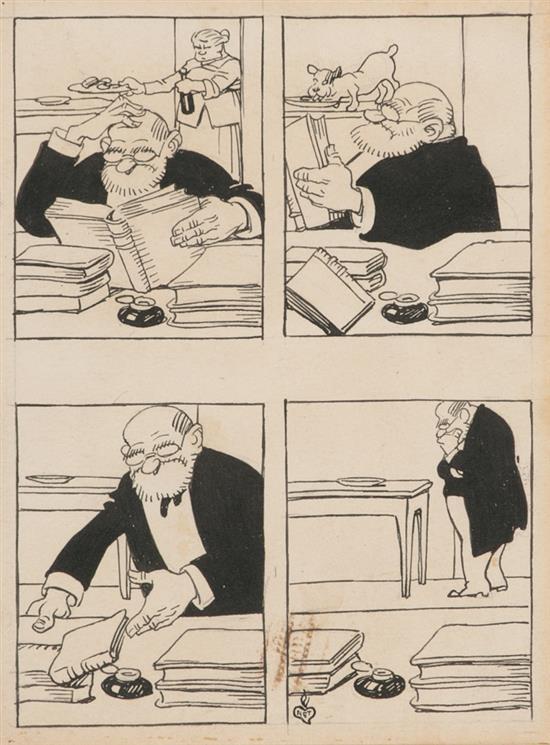 Gaietà Cornet Barcelona 1878 - 1945 Viñetas cómicas Dibujo a tinta sobre papel