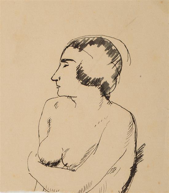 Lluís Mercadé Barcelona 1898 - 1959 Una joven Dibujo a tinta sobre papel
