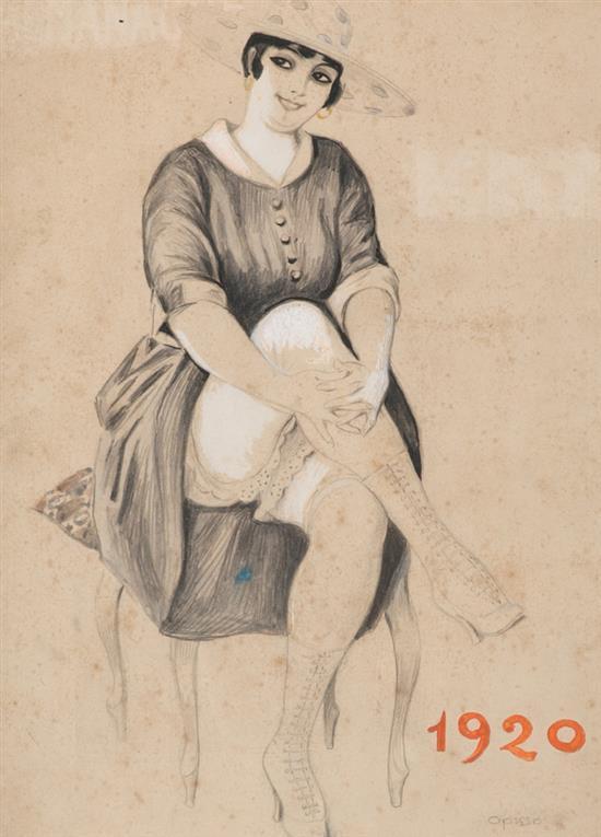 Ricard Opisso Tarragona 1880 - Barcelona 1966 Una joven con las piernas cruzadas Dibujo a lápiz, acuarela y gouache sobre papel