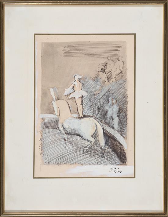 Josep Maria Prim Barcelona 1907 - 1973 Escena circense Dibujo a tinta y gouache sobre papel