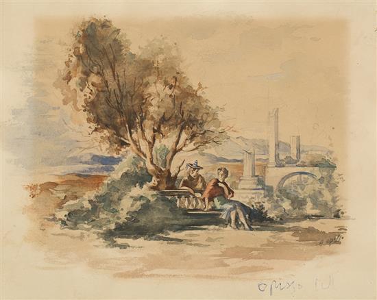 Alfredo Opisso Cardona Barcelona 1907 - 1980 Pareja en un paisaje Acuarela sobre papel