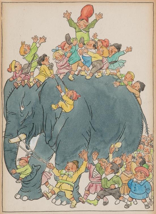 Gaietà Cornet Palau Barcelona 1878 - 1945 Escena infantil Dibujo a tinta y acuarela sobre papel