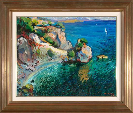 Ramon Nadal Horrach Palma de Mallorca 1913 - 1999 Vista costera mallorquina (probablemente Calvià) Óleo sobre lienzo