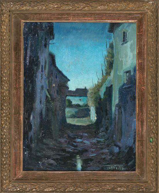 Casimir Martínez Tarrassó Barcelona 1898 - 1980 Calle de pueblo Óleo sobre lienzo