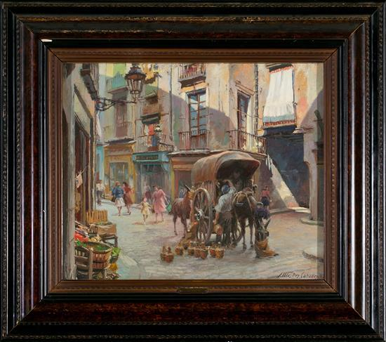 Josep Mestres Cabanes Manresa 1898 - Barcelona 1990 La Plaça de la Llana, Barcelona Óleo sobre lienzo