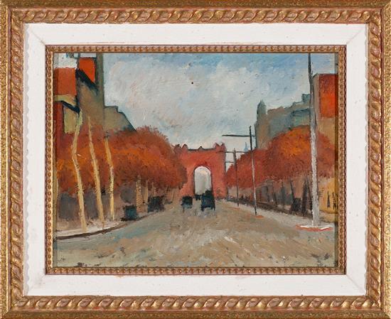 Miquel Villà Bassols Barcelona 1901 - Masnou 1988 Arco de Triunfo, Barcelona Óleo sobre cartón