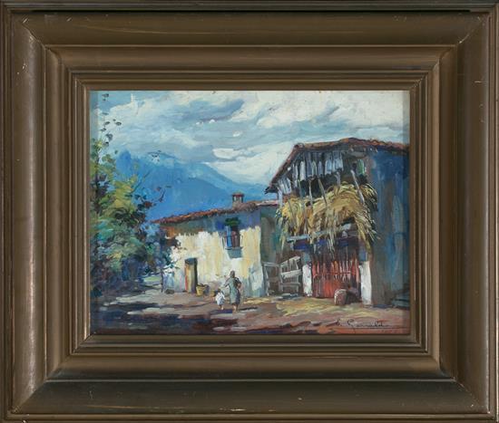 Elías Garralda Lesaka 1926 - Olot 2012 Caserío y Paisaje de Olot Óleo sobre tabla y óleo sobre lienzo