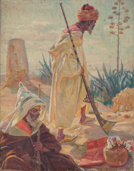 Ismael Blat Benimamet 1901 - 1976 Árabes con espingardas Óleo sobre lienzo