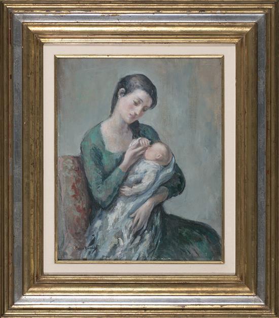Pedro Bueno Villa del Río 1910 - Madrid 1993 Maternidad Óleo sobre lienzo