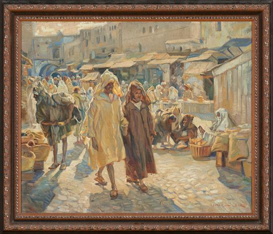 Ismael Blat Benimamet 1901 - 1976 Zoco marroquí Óleo sobre lienzo