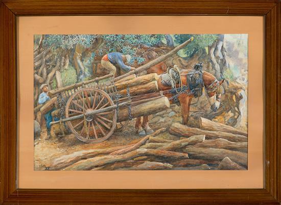 Felician von Myrbach-Rheinfeld Zalishchyky 1853 - Klaegfurt 1940 Madereros Acuarela sobre papel