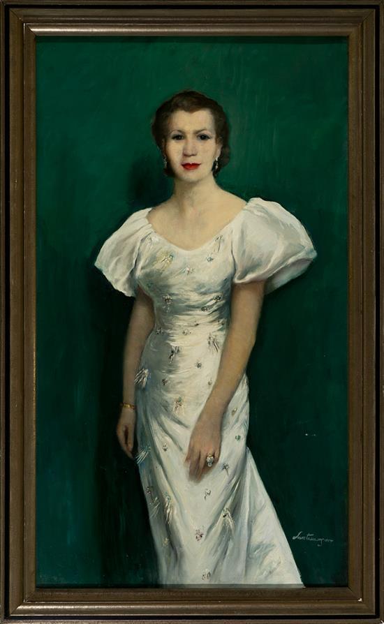 Ernest Santasusagna Barcelona 1900 - 1964 Retrato de una joven Óleo sobre lienzo