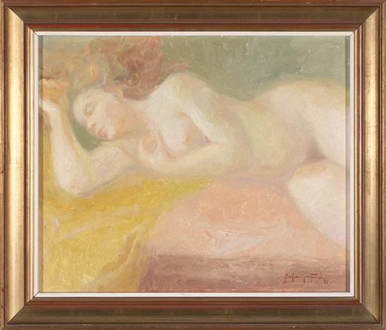 Emilia Castañeda Madrid 1943 Joven desnuda Óleo sobre táblex