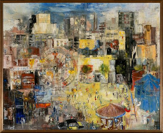 José Luis Florit Madrid 1909 - París 2000 Parque de atracciones Acrílico sobre lienzo
