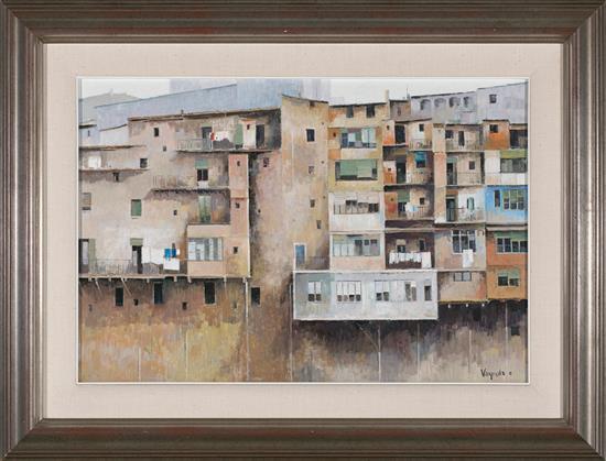 Josep Maria Vayreda Canadell Olot 1932 Casas de Girona Óleo sobre lienzo