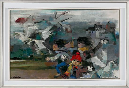 Ramón Aguilar Moré Barcelona 1924 - 2015 Niños persiguiendo pájaros Óleo sobre lienzo
