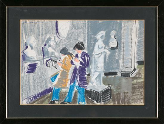 Antoni Vives Fierro Barcelona 1940 Visitantes en un museo Dibujo a ceras sobre papel