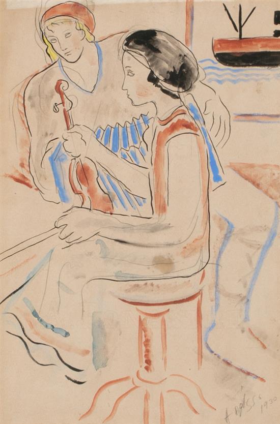 Alfredo Opisso Cardona Barcelona 1907 - 1980 Pareja de músicos Dibujo a tinta y acuarela sobre papel