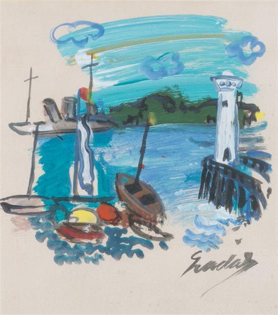 Carles Nadal París 1917 - Sitges 1998 Vista de un puerto Témpera sobre papel