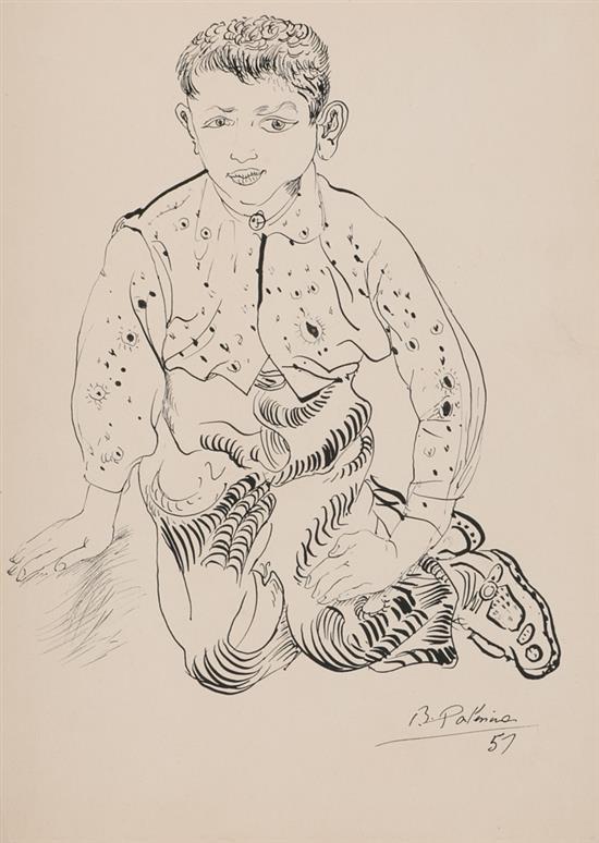 Benjamín Palencia Barrax 1894 - Madrid 1980 Un niño Dibujo a tinta sobre papel