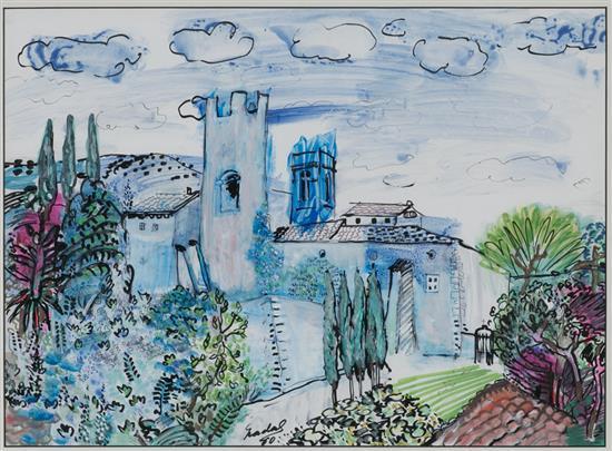 Carles Nadal París 1917 - Sitges 1998 Vista rural Dibujo a tinta, acuarela y gouache sobre papel