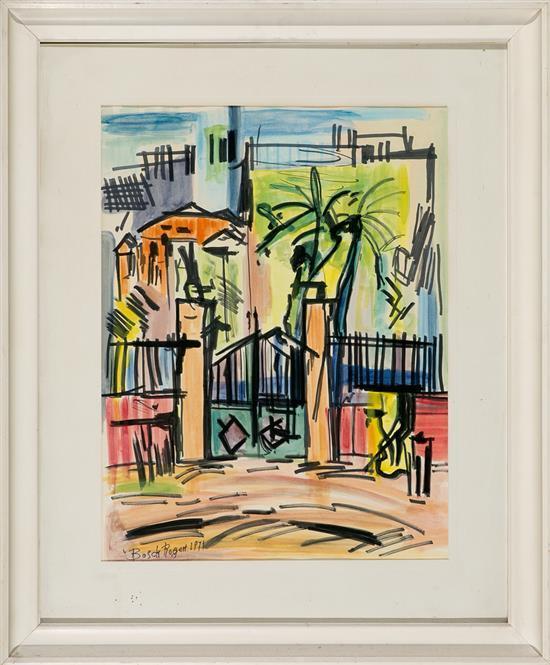 Emili Bosch Roger Barcelona 1894 - 1980 Vista urbana Dibujo a tinta y acuarela sobre papel