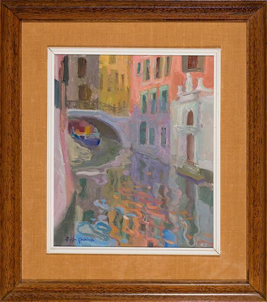Emilia Castañeda Madrid 1943 Vista de Venecia Óleo sobre lienzo
