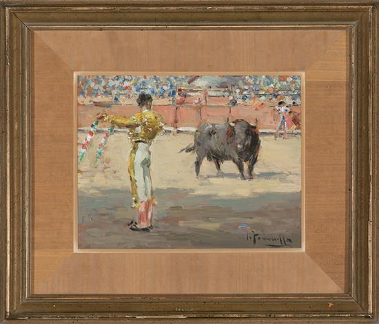 Joaquim Terruella Barcelona 1891 - 1956 Escena taurina Óleo sobre tabla